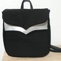 Fekete/ezüst hátizsák valódi bőr pántokkal., Táska, Hátizsák, Fekete szövetből készült hátizsák/ezüst színű  díszítéssel, szép íves vonalvezetéssel.  Állítható ho..., Meska
