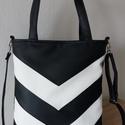 Fekete/fehér textilbőr táska, Táska, Válltáska, oldaltáska, Fekete/fehér textilbőrből készült táska. A táskát 2 féleképpen lehet hordani.  A hosszúpánt szabályo..., Meska