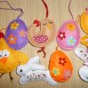 Húsvéti dekoráció (9 db-os), Dekoráció, Ünnepi dekoráció, Egészében kézzel varrtam aprólékos munkával ezeket a kedves felakasztható díszeket. Filc és kis pamu..., Meska