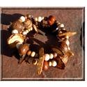Kókusz karkötő , Ékszer, óra, Karkötő, Kókusz -, natúr fa - és saját készítésű gyurma gyöngyökből készültek ezek a karkötők...., Meska