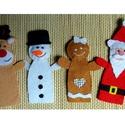 Karácsonyi ujjbáb készlet  ~ 4 db (mézi, réni, Mikulás, hóember), Játék, Báb, Játékfigura, Teljes egészében kézzel varrtam aprólékos munkával ezeket az édes bábokat. Filc anyag felhasználásáv..., Meska