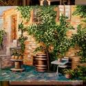 Mediterrán kert Festmény, Képzőművészet, Festmény, Olajfestmény, Festészet, Közvetlen a művésztől !  Csodaszép olajfestmény, megnyugtató, gyönyörű színekkel. 70x50 cm Fa alapo..., Meska