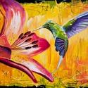Kolibri Festmény 70x50 cm, Képzőművészet, Festmény, Olajfestmény, Festészet, Közvetlen a művésztől !  Csodaszép festmény gyönyörű színekkel, egyedi stílussal. 70x50 cm  Feszíte..., Meska