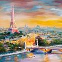 Párizs  Festmény 70x50 cm, Képzőművészet, Festmény, Olajfestmény, Festészet, Közvetlen a művésztől !  Csodaszép festmény gyönyörű színekkel, egyedi stílussal. 70x50 cm  Feszíte..., Meska