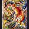 Küzdelem  Festmény 50x70 cm, Képzőművészet, Festmény, Olajfestmény, Festészet, Közvetlen a művésztől !  50 x 70 cm méretű egyedi olajfestmény a Japán tetoválások stílusában feszí..., Meska