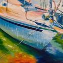 Balaton  70x50 cm, Képzőművészet, Festmény, Olajfestmény, Festészet, Közvetlen a művésztől !  Csodaszép festmény gyönyörű színekkel, egyedi stílussal. 70x50 cm  Feszíte..., Meska