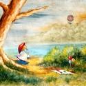Piknik, Képzőművészet, Festmény, Olajfestmény, Festészet, Közvetlen a művésztől !  Olajfestmény, gyönyörű színekkel.  Fa alapon  50x35 cm  Galéria minőség ! ..., Meska