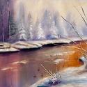 Téli folyó 70x50 cm, Képzőművészet, Festmény, Olajfestmény, Festészet, Közvetlen a művésztől !  Csodaszép festmény gyönyörű színekkel, egyedi stílussal. 70x50 cm  Feszíte..., Meska