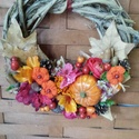 Kopogtató koszorú iszalag indából, Dekoráció, Virágkötés, Iszalag indából tekert koszorú alapra készítettem őszi kopogtató koszorút. Ezekhez szárított termés..., Meska