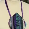 """Textil nyaklánc - türkiz-lila, Ékszer, Nyaklánc, Medál, Türkiz-lila színű textil nyaklánc kézfej méretű, kb. 14x13cm-es \""""medállal\"""". Különböző ..., Meska"""