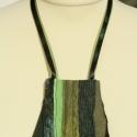 Textil nyaklánc - zöld-sárga trapéz                                      , Ékszer, Medál, Nyaklánc, Zöld-sárga színű textil nyaklánc különböző anyagkombinációkkal. Medál mérete kb. 11,5x1..., Meska