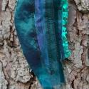 Textil nyaklánc-medál - türkiz                        , Ékszer, Medál, Nyaklánc, Zöldes türkiz színű textil nyaklánc különböző anyagkombinációkkal. Medál mérete kb. 6x1..., Meska