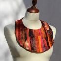 Textil nyakék - rozsda, Ékszer, Nyaklánc, Medál, Rozsda-narancs színű textil nyakék kb. 17cm hosszú elöl. Különböző anyagkombinációk szín..., Meska