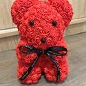 Piros virág maci, Otthon & lakás, Dekoráció, Dísz, Lakberendezés, Asztaldísz, Mindenmás, Sziasztok!  Ha szeretnétek kézzel készült virág macikat ajándékozni ismerősötöknek, ami tökéletes a..., Meska