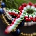 nemzeti színben-kokárda, Magyar motívumokkal, Mindenmás,  kb 6 cm nagyságú kokárda, piros, fehér, zöld színű gyöngyökből.   , Meska