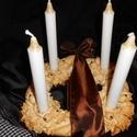 Barna szalaggal-adventi koszorú, Karácsonyi, adventi apróságok, Karácsonyi dekoráció, Só-liszt masszából készült adventi koszorú. Törékeny, kiégettem majd lakkoztam.Natúron hag..., Meska