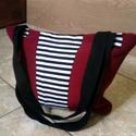 Trendi csíkos táska , Ékszer, óra, Táska, Válltáska, oldaltáska, Piros-csíkos kombináció! Remek párosítás :) Használhatod strandon,hétköznapokon egyaránt. ..., Meska
