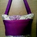 Lila mintás trendi táska, Ékszer, Ruha, divat, cipő, Táska, Válltáska, oldaltáska, Varrás, Nagyon szép lila anyagomat,színben harmonizáló bézs mintás anyagommal készítettem. Tartós,divatos d..., Meska