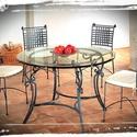 kovácsolt asztal + 4db szék , Bútor, Asztal, Szék, fotel, Fémmegmunkálás, Kovácsoltvas, Ingyenes házhoz szállítás!!!!!!   kovácsolt asztal 80cm átmérővél + 4db székkel, választható párna ..., Meska
