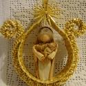 Mária tulipánban , Dekoráció, Ünnepi dekoráció, Karácsonyi, adventi apróságok, Karácsonyi dekoráció, Szalmafonatból és csuhéból készült saját tervezésű termék. A dísz akasztható. Mérete 10..., Meska
