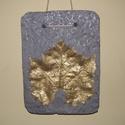 Levéllenyomatos falikép, szőlő, arany, Könnyűbetonból készült kép szőlő levéllen...