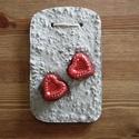 könnyűbeton falikép, 2 szívvel, Könnyűbetonból készült falikép festett beton...
