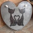 Beton szív kép cicákkal, A kép betonból készült, cicás motívummal, tr...