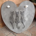 """Beton szív kép """"3 cicus"""", A kép betonból készült, """"3 cicus"""" motívummal,..."""