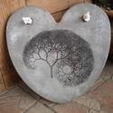 """Beton szív kép """"Brain-tree"""", A kép betonból készült, transzferálással. Fe..."""