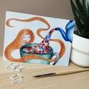 Floral teatime print, Művészet, Grafika & Illusztráció, Fotó, grafika, rajz, illusztráció, Festészet, A5 méretű (14,8 x 21 cm) print 300 g matt papírra nyomtatva.  Digitális reprodukció, az eredeti kép..., Meska