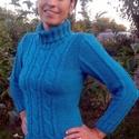 Kézzel kötött türkíz kék pulóver, Baba-mama-gyerek, Ruha, divat, cipő, Mindenmás, Kötés, Kedvenc színem, kedvenc pulóverem!!! Szívesen elkészítem a Te méretedben is, válassz színt, keress ..., Meska