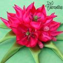 Rózsaszín-pink tulipáncsokor virág hajdísz levelekkel, Ruha, divat, cipő, Ékszer, óra, Hajbavaló, Bross, kitűző, Varázslatos rózsaszín-pink tulipáncsokor virág hajdísz levelekkel, saját készítésű csillo..., Meska