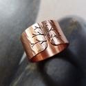 Réz fa  gyűrű , Ékszer, óra, Gyűrű, Gyűrű fa mintával, vörösrézből. Fűrészelt, hajlított, kalapált. A gyűrűt oxidáltam, rusztikusra csis..., Meska