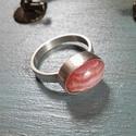 Rodokrozit ezüst gyűrű 3., Ékszer, Gyűrű, Ovális rodokrozit kabosont foglaltam Sterling ezüstbe. Szaténre polírozott gyűrűalapon. Egyedi darab..., Meska