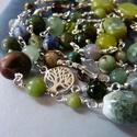 Hosszú ezüst nyaklánc ásványokkal, Ékszer, óra, Karkötő, Nyaklánc, Hosszú ezüst nyaklánc a zöld és barna számtalan árnyalatában, melyet viselhetsz a nyakadban 1 sorosa..., Meska