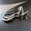Praziolit (zöld ametiszt) ezüst fülbevaló, Ékszer, Fülbevaló, Elegáns fülbevaló 6 mm nagyságú praziolit (zöld ametiszt) gyöngyökből, ezüst ékszerdrótból, egyedi, ..., Meska