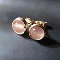 Rózsakvarc ezüst bedugós fülbevaló, Ékszer, Fülbevaló, Bedugós fülbevaló 6 mm nagyságú rózsakvarc gyöngyökből, ezüst ékszerdrótból. Jelzett sterling ezüst ..., Meska