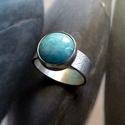 Larimár ezüst gyűrű