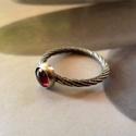 Gránát ezüst gyűrű , Ékszer, Gyűrű, Szép kerek gránát kabosont foglaltam be egyszerű, elegáns gyűrűvé. Mintás alapon. Minden fém része S..., Meska