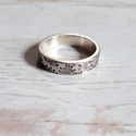 Vastag ezüst karikagyűrű pitypang mintával, Masszív, vastag anyagból készült Sterling ezü...