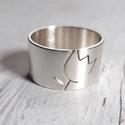 Tulipán ezüst gyűrű (széles, szatén), Gyűrű egyedi tervezésű tulipán mintával, Ste...