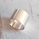 Ezüst csőgyűrű, Modern ezüst karikagyűrű szatén fénnyel, Ster...