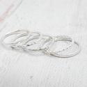 Ezüst gyűrű szett, 5 karika, Öt gyűrűből álló szett, melynek minden tagja...