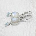 Holdkő ezüst fülbevaló topázzal, Fülbevaló holdkő kabosonokból, Sterling ezüst...