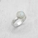 Holdkő ezüst gyűrű , Romantikus gyűrű szivárvány holdkő kabosonbó...