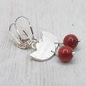 Vörös korall tulipán ezüst fülbevaló , Fülbevaló vörös korall gyöngyökből, Sterlin...