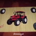 bambusz tányéralátét traktorral - Dkati részére, Ezt az alátétet külön kérésre készítettem ...