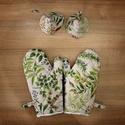 Fűszernövényes edényfogó kesztyű és fedőfogó szett, A szett tartalmaz két db edényfogó kesztyűt, i...