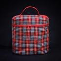 Skót kockás kozmetikai táska piros béléssel, A kozmetikai táska méretei: 23 cm magas, 23 cm s...