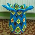 Kék váza, Dekoráció, Otthon, lakberendezés, Dísz, Kaspó, virágtartó, váza, korsó, cserép, 3D origami (modul)technikával készült Kék váza Méret: átm.: 32 cm, magasság: 30 cm Anyaga: p..., Meska